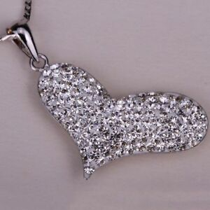 925-Sterling-Silver-Heart-Necklace-Pendant-Fashion-Valentine-039-s-Day-Gift