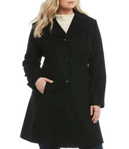 NWT-Preston-amp-York-Black-Fit-amp-Flare-Button-Front-Dress-Coat-Sz-24W-Orig-219