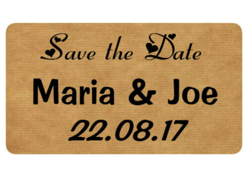 ANY TEXT REAL KRAFT WEDDING,ENGAGEMENT FAVOUR STICKERS CHOICE OF DESIGNS