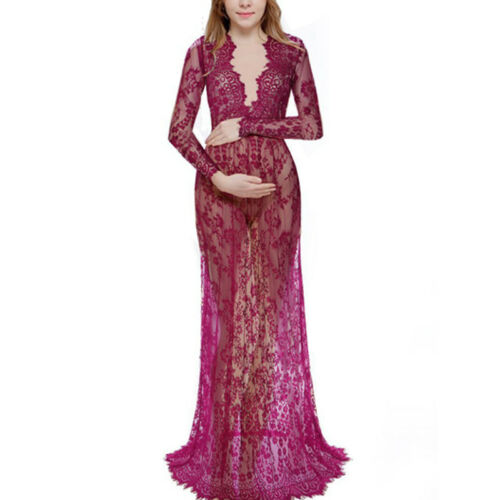 Womens Pregnant Lace Maxi Dress Party Gown Maternity Photography Photo Props US