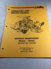 Leeboy Model 1200s Asphalt Maintainer Operators And Service Manual