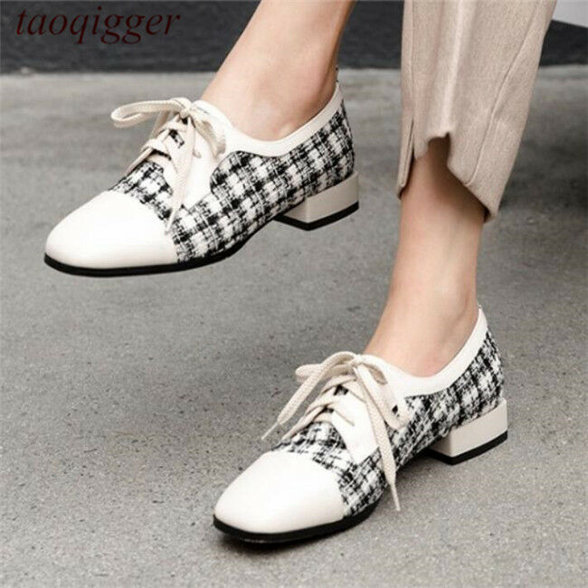 Retro Britain Women's casual loafers lace up block Square toe grid cloth shoes