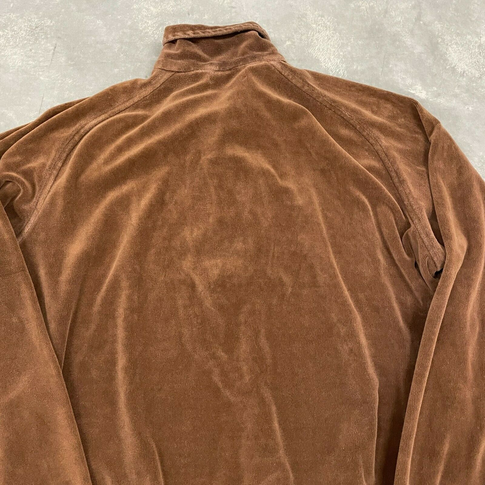 70s VTG Brown Velour Polo Pullover Sweater Cool X… - image 8