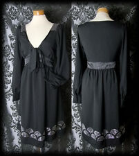 Goth Black Beaded Detail 40's RAPTURE Pussy Bow Tea Dress 10 12 Vintage Glamour