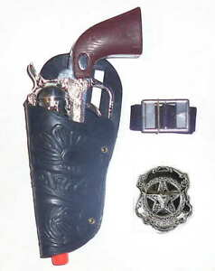Little-Cowboy-Sheriff-Left-Hand-Holster-Set-w-Clicker-Pistol-Badge-and-Belt