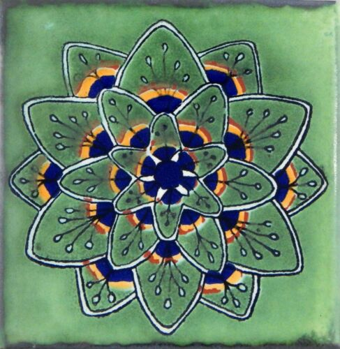 "Handmade Mexican Tile Sample  Talavera Clay 4/"" x 4/"" C2671"
