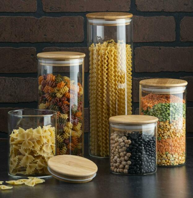 canister set of 5, glass kitchen canisters with airtight bamboo lid, glass   ebay