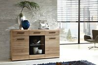 Fever Wide Sideboard Cabinet - Sonoma Oak Finish With Led Lights And Drawers