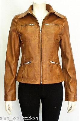 Linda Tan Ladies Womens Designer Fashion Party  Washed Sheep Leather Jacket