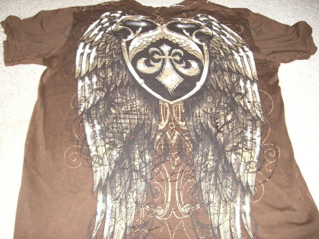 Affliction  Herren LA FLEUR SHIELD N WINGS Braun T-shirt S