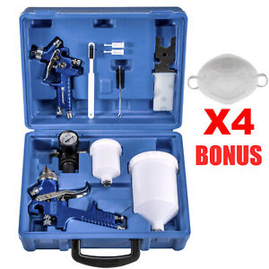 Hvlp Spray Gun Kit >> Details About 2 X Hvlp Spray Gun Kit Gravity Feed Vehicle Car Paint 1 4mm 0 8mm Nozzle 4 Mask
