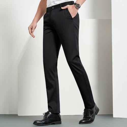 Men/'s Casual Straight Pants Slim Fit Outdoor Business Trousers Leisure Plain D