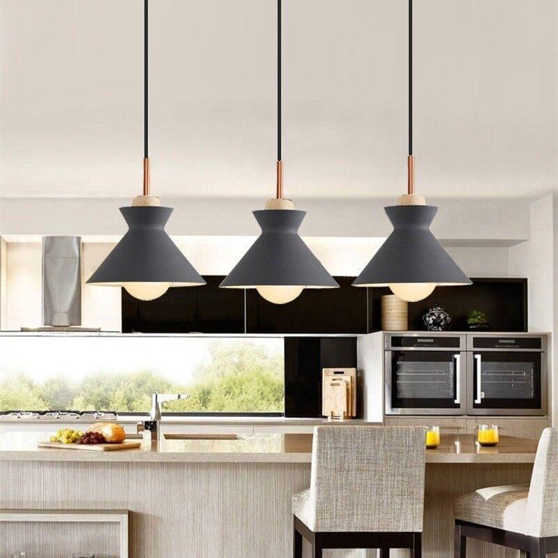 Kitchen Pendant Lighting Bar Lamp Bedroom Wood Light Grey Ceiling