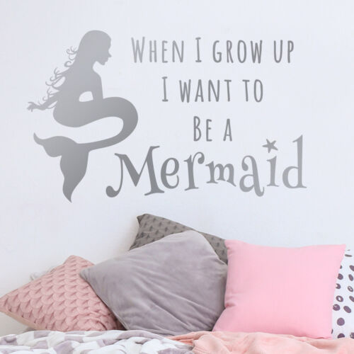 Mermaid Citation Autocollant Mural-When I Grow Up I want to be a sirène Wall Sticker