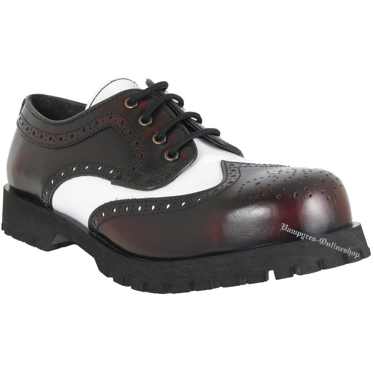 8674a4fa0aded0 Boots Budapester   Braces Schuhe 4-Loch Budapester Boots Burgundy Rub Off  Weiß Rangers Stahlkappe 0dcd5b