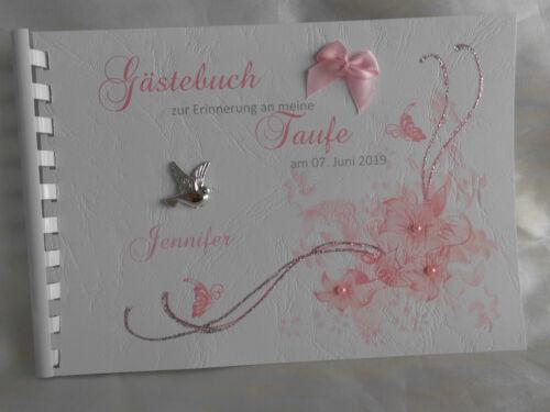 Kleines Gästebuch Din A5 Taufe Mädchen personalisiert
