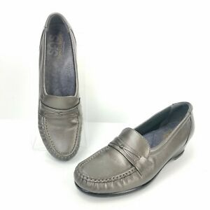 SAS-Tripad-Comfort-Loafer-Shoes-Gray-Leather-Casual-Slip-On-Flats-Womens-Size-9