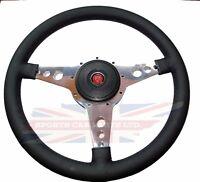 13 Leather Steering Wheel W/ Adaptor Hub Jaguar Xke E-type Moto-lita