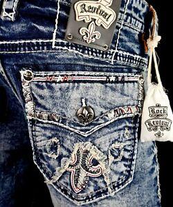 220 Mens Rock Revival Jean Pruitt Red Leather Inserts Slim Straight 38 X 31 Ebay