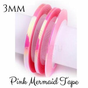 3mm-MERMAID-PINK-Nail-Art-Opal-Striping-Tape-Line-Roll-Rainbow-Angel-Paper