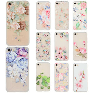 Shockproof-TPU-Silicone-Flower-Phone-Case-Cover-For-Apple-iPhone-6-6S-7-8-Plus-X