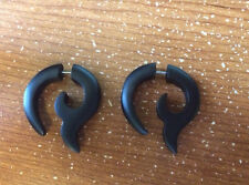 PAIR OF FAKE CHEATER PLUGS (2G HEADS) BLACK SONO WOOD LONG SPIRALS TRIBAL GAUGES