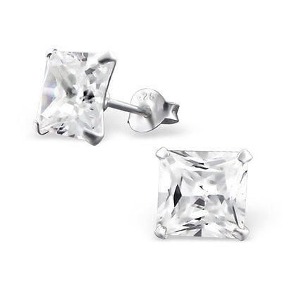 Sterling Silver 8mm Princess Cut Simulate Diamond Stud Earrings 925 Studs Square