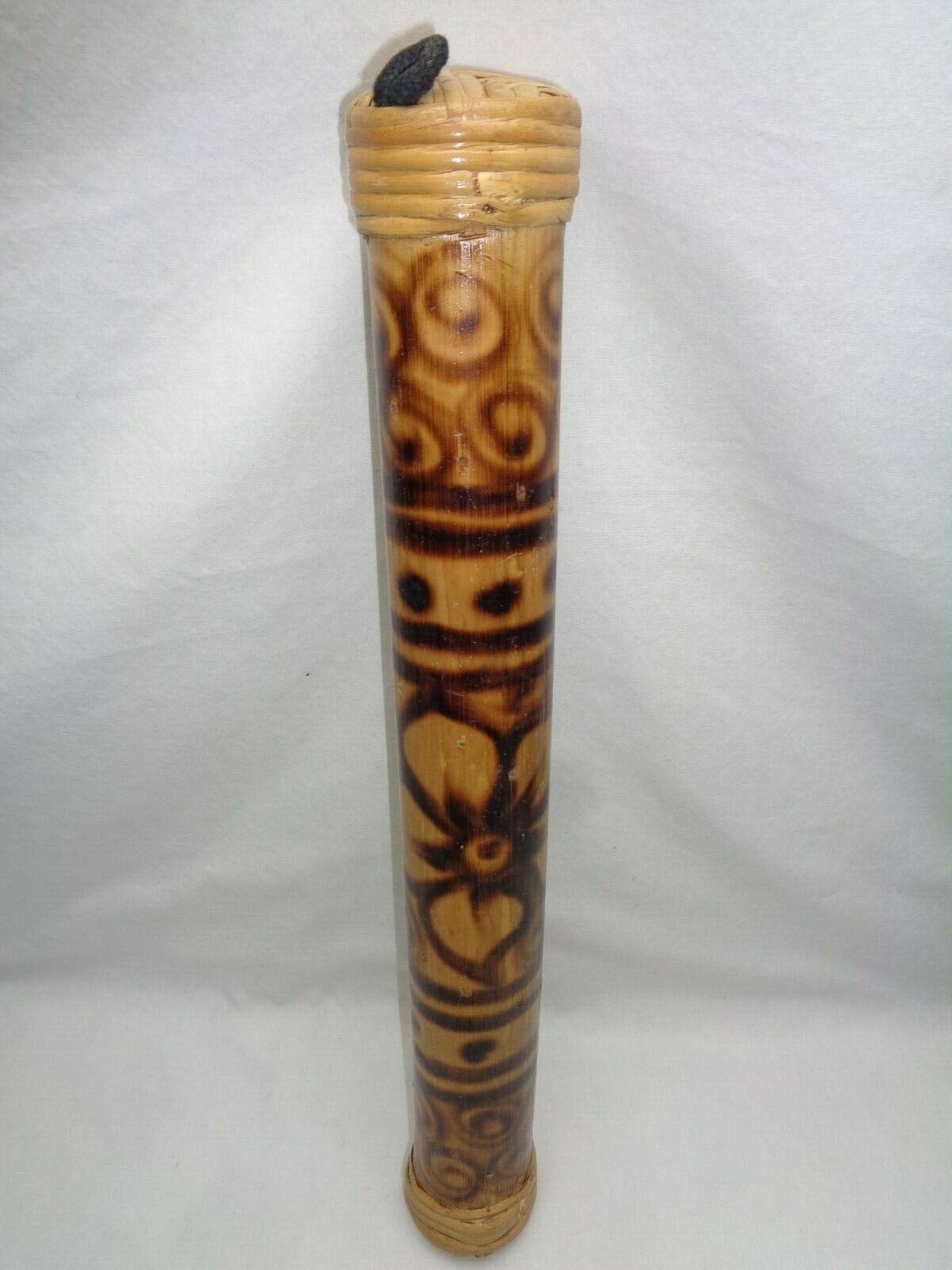 Vtg Wood Bamboo Rainstick Hand Shaker Musical Rain Maker Stick Tiki Modern Decor