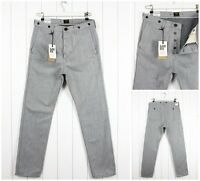 NEW  LEE 101 CHINO SELVEDGE MELANGE GREY  SLIM TAPERED  FIT JEANS __ ALL SIZES