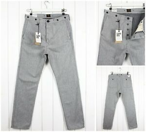 NEU-Lee-101-Chino-Arbeit-North-Grey-Slim-Tapered-Fit-Jeans-alle-Groessen