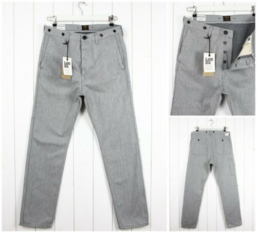 NEW  LEE 101 CHINO WORK  SELVEDGE  GREY  SLIM TAPERED  FIT JEANS /_ ALL SIZES