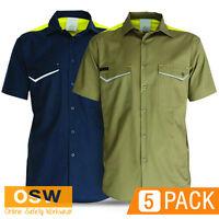 5 X Mens Khaki/navy Cotton Air Vented Cool Dry Ripstop Light-weight Shirt