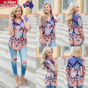 AU-Women-3-4-Sleeve-V-Neck-Floral-Printed-Retro-Tops-Blouse-Pullover-T-Shirts