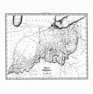 Ohio 1819 Oh Map Ashland Wood Jackson Athens County History Big Ebay