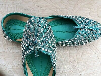 Verde Cuero señoras de la India Boda Khussa zapatos talla 6