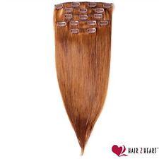 Clip-In Extensions Haarverlängerung Echthaar glatt 60cm #33 mahagoni