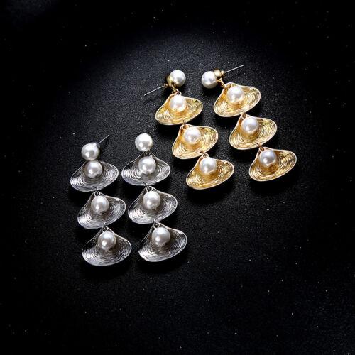Ohrringe Linear Muster Gehäuse Perle weiß lang Retro Art Deco AA29