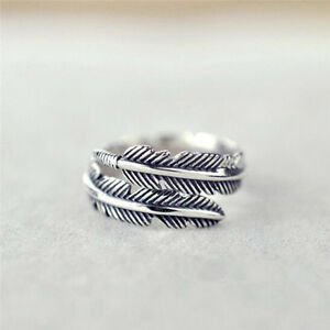 1-Pc-Vintage-Feather-Arrow-Opening-Rings-For-Women-And-Men-Silver-SP