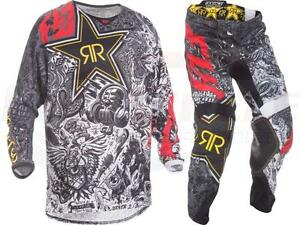 Fly Racing Kinetic Rockstar Energy Mesh Jersey Pant Combo Set MX ATV Riding Gear