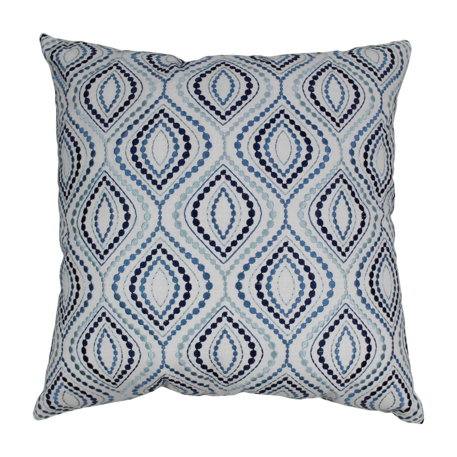 Blazing Needles 20 Indian blu Palette Ogee Hand-embroiderosso Throw Pillow Blu...