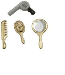 Dollhouse Miniatures 1:12 Scale Comb//Dryer Vanity Set 4pc #IM65312