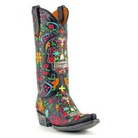 Old Gringo Ladies Black Klak Sugar Skull Boots L1300-1
