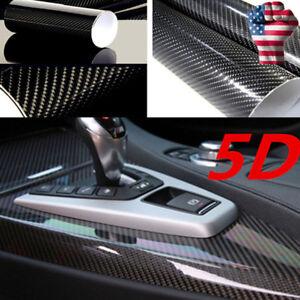 5d High Gloss Black Carbon Fiber Vinyl Automotive Car Wrap