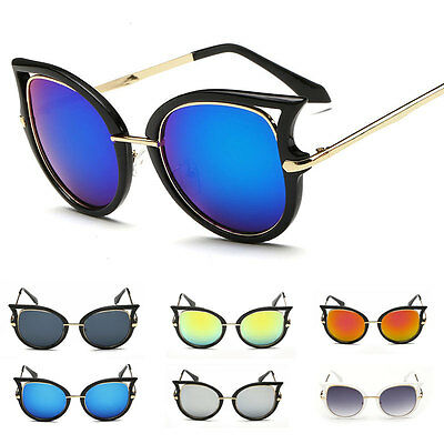 Womens Retro Cat Eye Mirror Sunglasses Designer Fashion Sports Glasses Eyewear