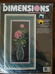 Dimensions-Roses-in-Crystal-Counted-Cross-Stitch-Kit-3875-1998-Karen-Avery-NIP