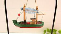 "Vintage CUTE Wood Wooden Fishing Boat Christmas Ornament  2 1/2"" X 3 1/2"""
