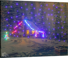 Christmas Retreat Fiber Optic Canvas Wall Hanging w/Remote ~ Thomas Kinkade