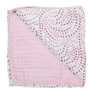 Bebe au Lait Muslin Snuggle Blanket Travel Security Throw Blankie Rose + Petal