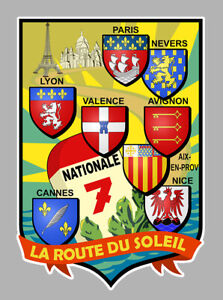 RN7 STICKER AUTOCOLLANT ROUTE NATIONALE 7 SOLEIL ECUSSON NA039