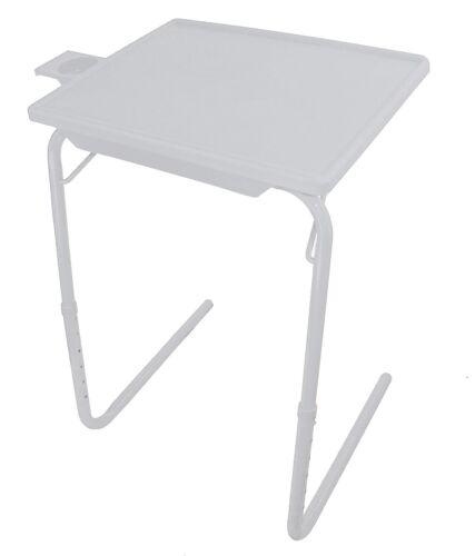 Portable Folding Multipurpose Comfortable Adjustable TV Tray Dinner Table  Mate White
